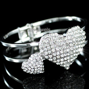 Bridal Double Heart Crystal Cuff Bangle Bracelet XB048