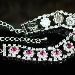 Bridal Purple Flower Crystal Bracelet XB051