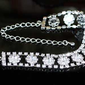 Bridal Wedding Silver Flower Crystal Bracelet XB052