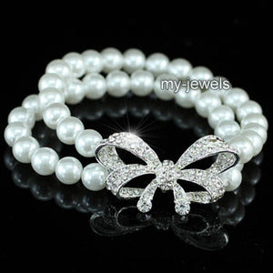 Bridal White Faux Pearl Ribbon Bracelet XB058