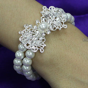 Bridal White Faux Pearl Bracelet use Austrian Crystal XB061