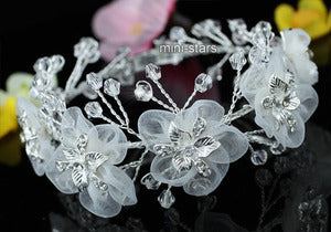 Bridal White Fabric Flower Crystal Handmade Bangle Bracelet XB070