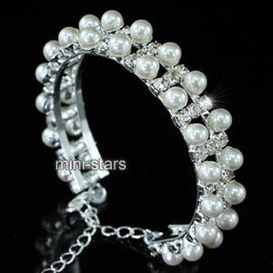 Bridal Wedding White Faux Pearl Cuff Bangle XB072