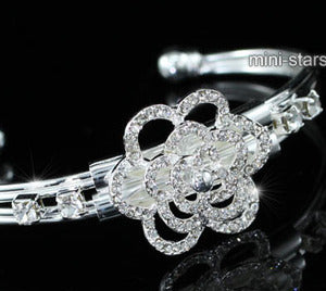 Bridal Bridesmaid Rose Crystal Silver Cuff Bangle XB073