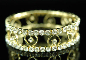 Hearts Bridal Wedding Stretch Crystal Gold Bracelet B008