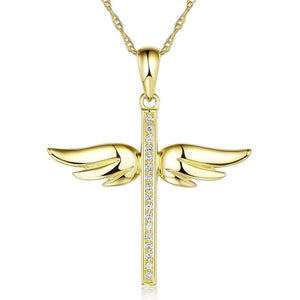 14K Yellow Gold Angel Wing Cross Pendant Necklace 0.08 Ct Diamonds