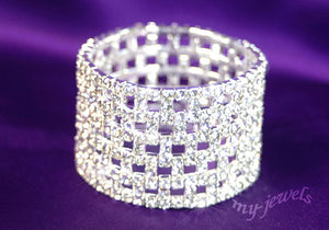 Wide Checkered Stretch Bridal Rhinestone Bracelet B917