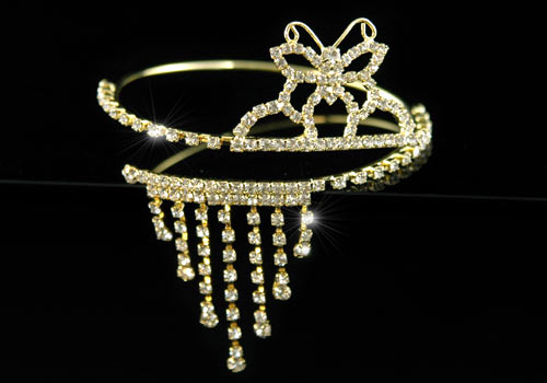 Bridal Butterfly Crystal Gold Upper Arm Bracelet / Armlet XA011