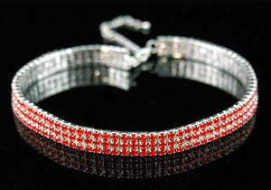 Bridal 3 Row Stretch Red Crystal Rhinestone Choker XC006