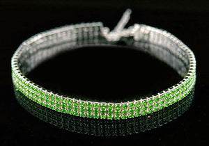 Bridal 3 Row Green Crystal Rhinestone Choker XC007