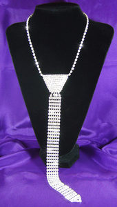 Drag Queen Crystal Rhinestone Necktie Necklace XC026
