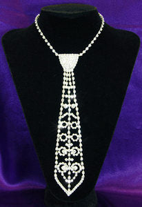 Bridal Prom Crystal Rhinestone Necktie Necklace XC027