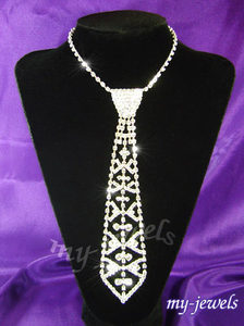 Bridal Prom Crystal Rhinestone Necktie Necklace XC028
