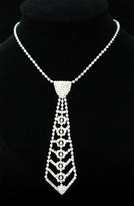 Bridal Prom Crystal Rhinestone Necktie Necklace XC029
