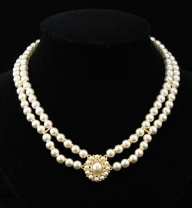 Vintage Style Cream Shell Pearl w/ Swarovski Crystal Necklace C032