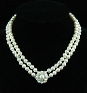 Vintage Style White Shell Pearl w/ Swarovski Crystal Necklace C033