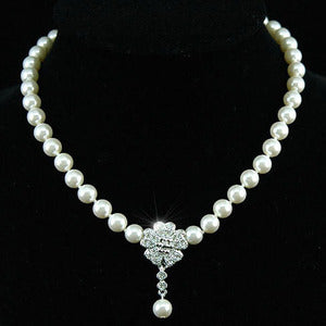 Bridal White Shell Pearl Necklace use Austrian Crystal XC038