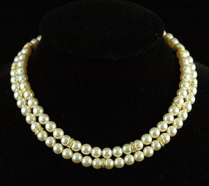 Bridal Wedding 2 Strings Cream Shell Pearl Necklace XC040