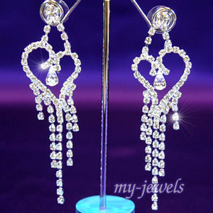 Bridal Party Pageant Heart Rhinestone Dangle Pierced Earrings XE1016