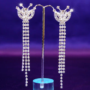 "4"" Sparkling Crystal Rhinestone Dangle Earrings XE1020"