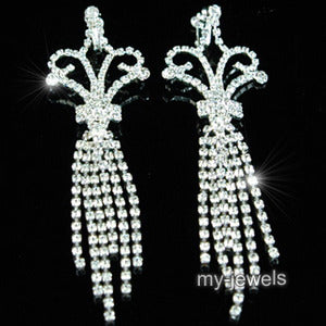 "5"" Drag Queen Jumbo Rhinestone Dangle Clip On Earrings XE1022"