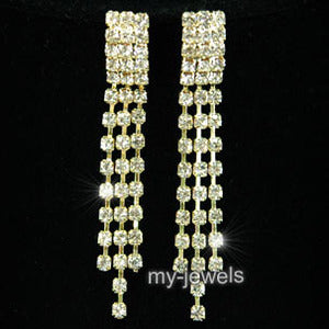3 Rows Rhinestone Dangle Gold Plated Earrings XE1027
