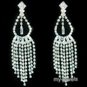 "4"" Drag Queen Rhinestone Dangle Clip On Earrings XE1031"