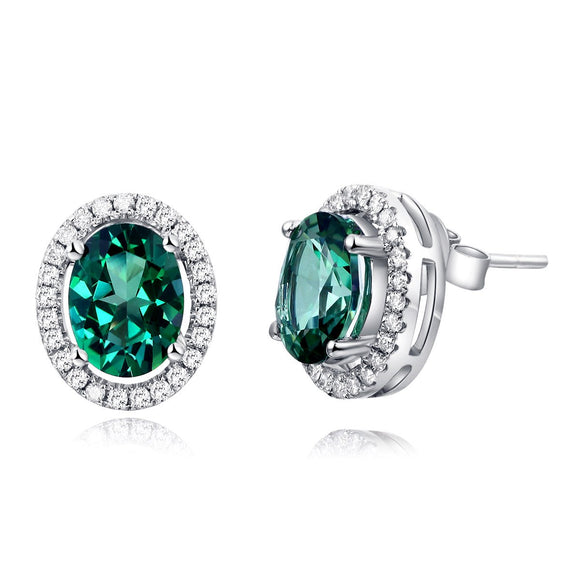 14K White Gold Stud Natural 1.6 Ct Oval Green Topaz Earrings 0.28 Ct Diamonds