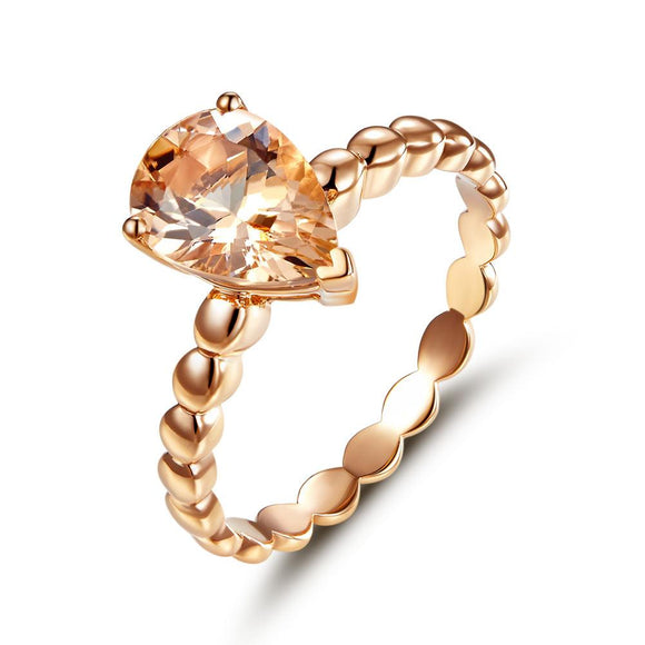14K Rose Gold Wedding Engagement Solitaire Ring 1.6 Ct Pear Peach Morganite