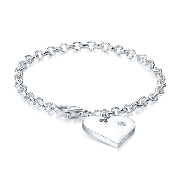 Kids Girl Gift Children Jewelry Solid 925 Sterling Silver Dangle Heart Bracelet XFB8006