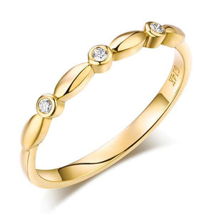 14K Solid Yellow Gold Wedding Band Stackable Ring 0.03 Ct Diamond