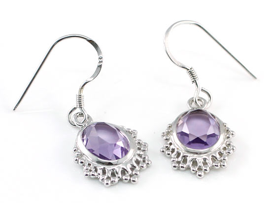 5 Carat Genuine Purple Oval Cut Amethyst 925 Sterling Silver Dangle Fine Earrings XFE8006
