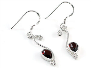 1.5 Carat Genuine Dark Red Garnet 925 Sterling Silver Dangle Fine Earrings XFE8007