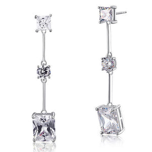 4 Carat Emerald Cut Created Diamond  925 Sterling Silver Dangle Earrings XFE8038