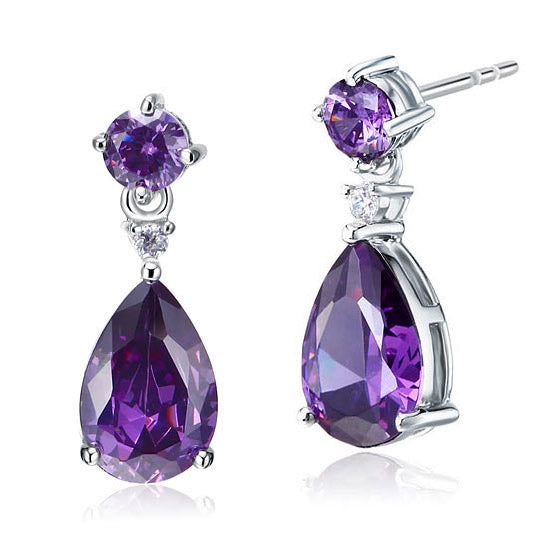 3 Carat Pear Cut Created Purple Sapphire 925 Sterling Silver Dangle Earrings XFE8059