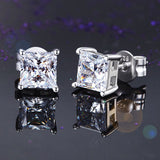 925 Sterling Silver Stud Earrings 1 Carat Princess Cut Created Diamond  XFE8077