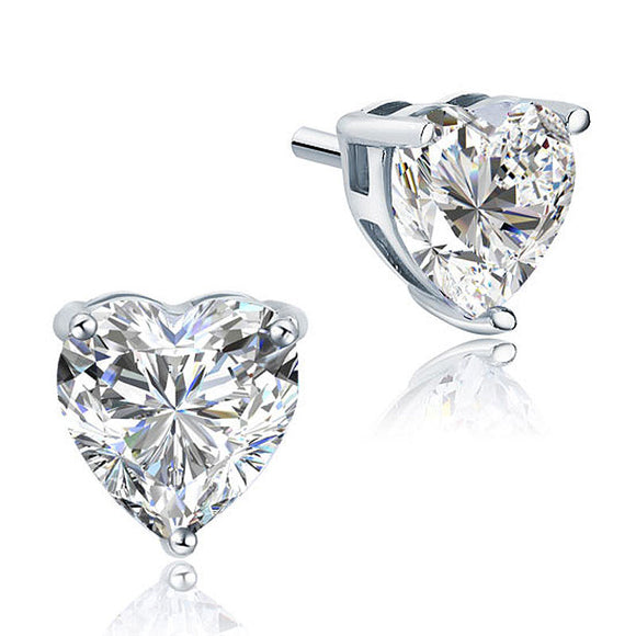 4 Carat Heart Cut Created Diamond Stud 925 Sterling Silver Earrings XFE8084