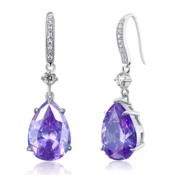 Purple Pear Created Sapphire 925 Sterling Silver Dangle Hook Earrings XFE8111