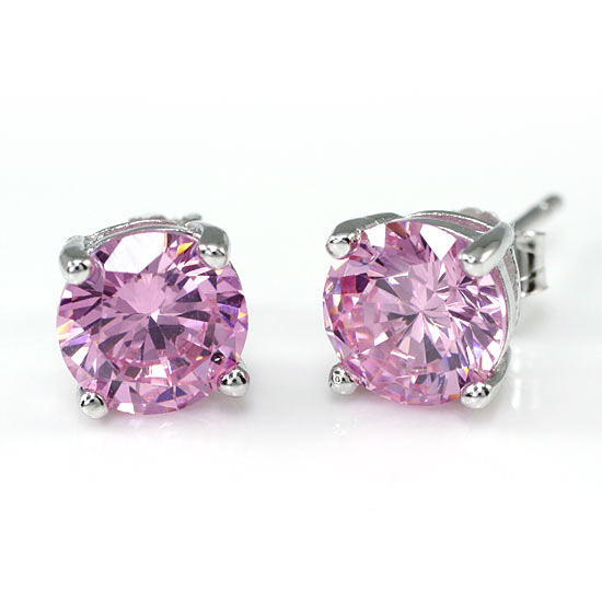 2 Carat Created Pink Sapphire 925 Sterling Silver Stud Earrings XFE8115