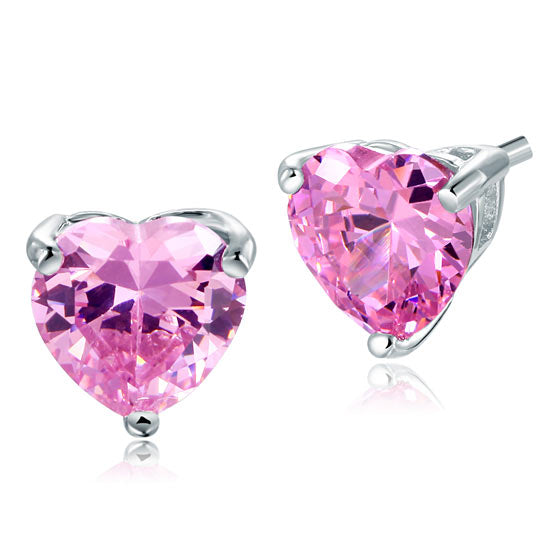 Bridal 2 Carat Pink Heart Cut Stud 925 Sterling Silver Stud Earrings Jewelry XFE8120