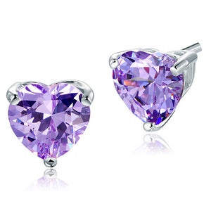 Bridal 2 Carat Heart Cut Purple Stud 925 Sterling Silver Earrings Jewelry XFE8121