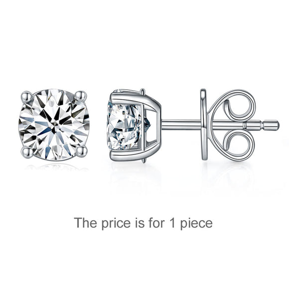 1 Carat Moissanite Diamond Men's Earrings (1 Piece) 925 Sterling Silver MFE8186