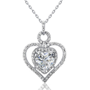 3 Carat Created Diamond 925 Sterling Silver Heart Pendant Necklace XFN8010