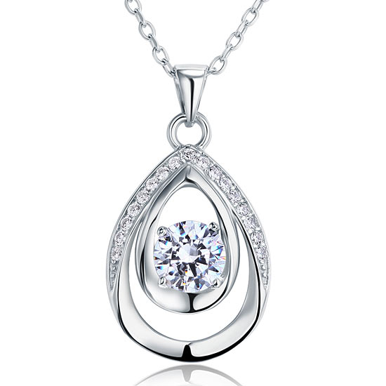 1 Carat Round Cut 925 Sterling Silver Bridesmaid Pendant Necklace Jewelry XFN8026