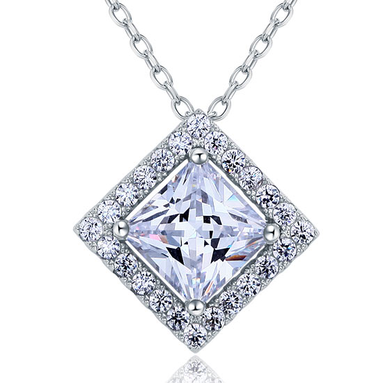 1.5 Carat Princess Cut Created Diamond 925 Sterling Silver Pendant Necklace XFN8036