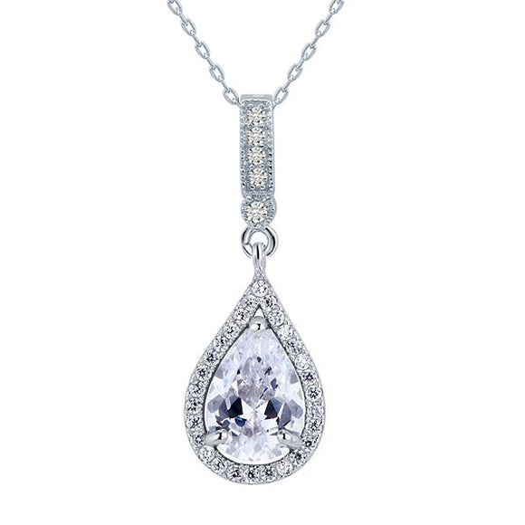 925 Sterling Silver Fashion Bridesmaid Pendant Necklace Bridal Wedding Tear Drop XFN8040