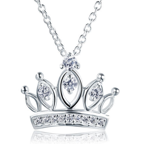 Kids Girl Crown Pendant Necklace Solid 925 Sterling Silver Children Jewelry XFN8063