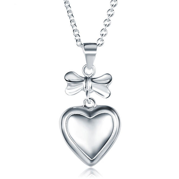 Kids Girl Ribbon Heart Pendant Necklace 925 Sterling Silver Children Jewelry XFN8064