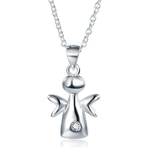 Kids Girl Angel Pendant Necklace Solid 925 Sterling Silver Children Jewelry XFN8066