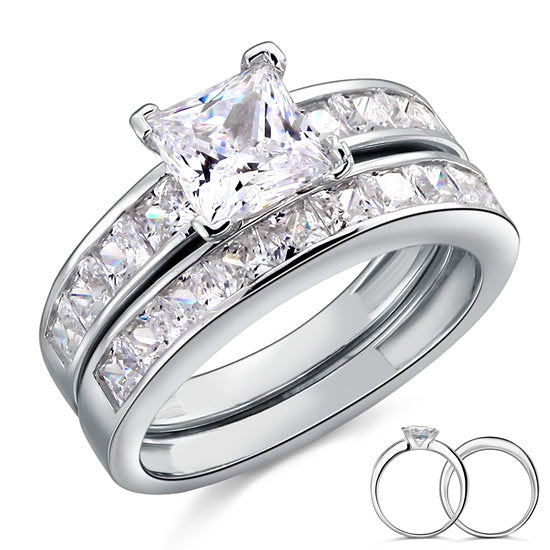 1 Ct Created Diamond 925 Sterling Silver Wedding Engagement Ring Set XFR8020
